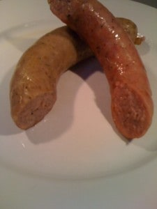 Two homemade sausages