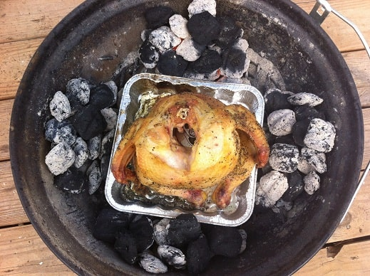 Overhead View of a Beer Can Chicken