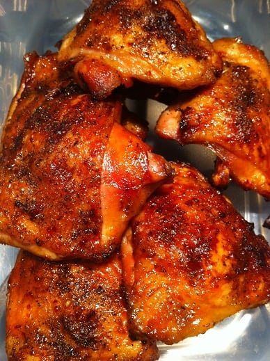 Charcoal grilled chicken thighs