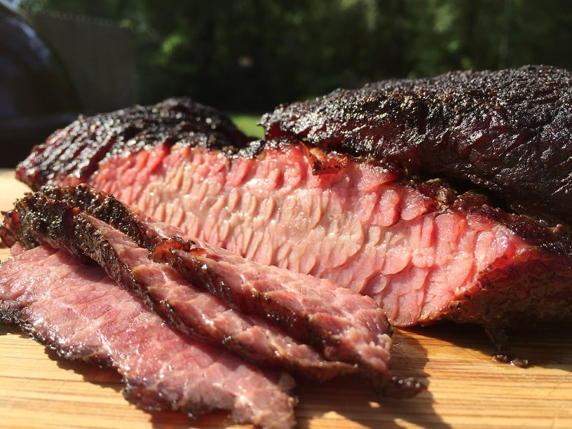 Sliced Brisket Smoked on Weber Kettle
