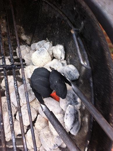 adding coals