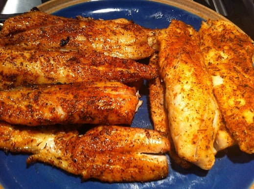 side by side grilled trout