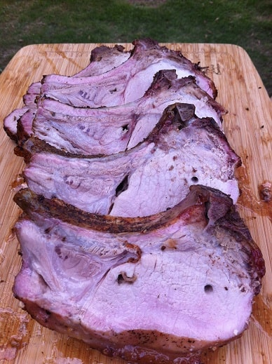 rib roast cooked on a Weber rotisserie