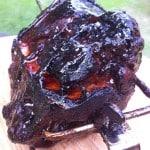 Rotisserie pork butt resting