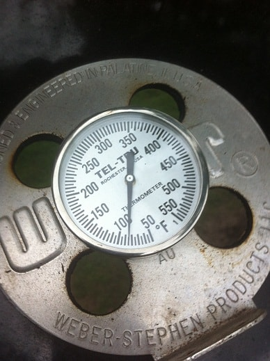 Thermometer in vent of Weber Jumbo Joe