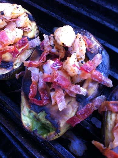 Stuffing the grilled avocado