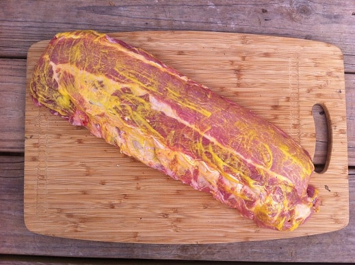 Mustard slather on ribs