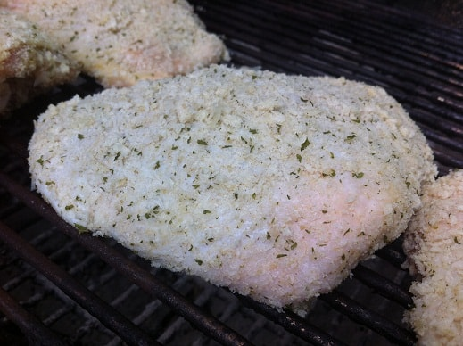 Grilling breaded thighs