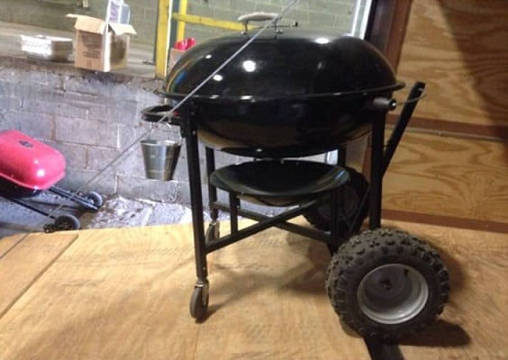 Weber Ranch Kettle with Modified Wheels