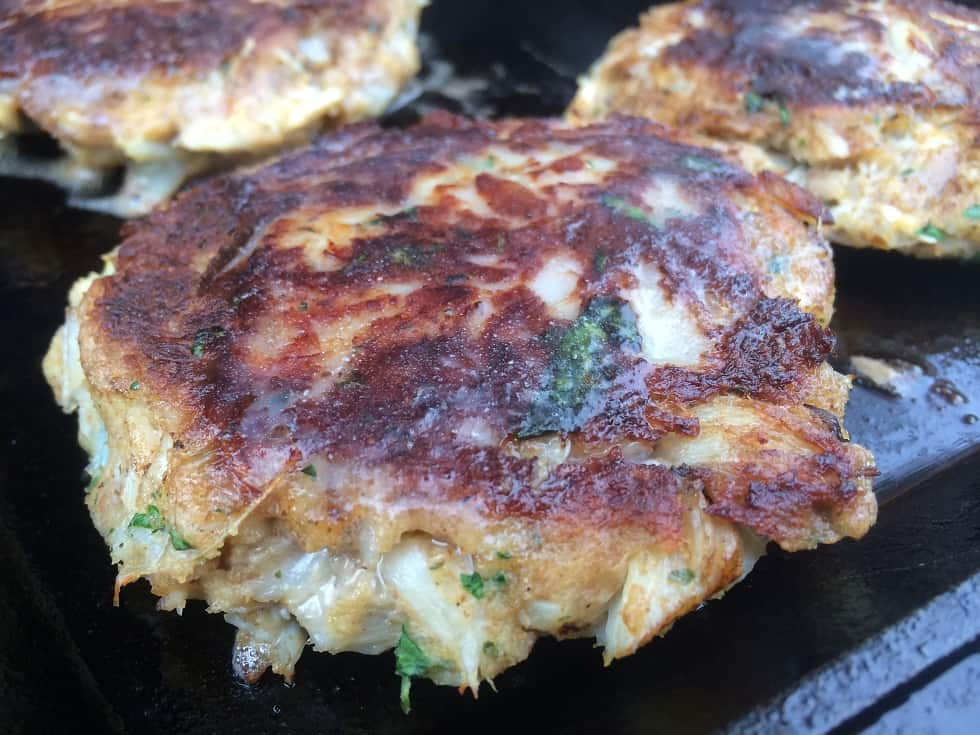 Crab Cakes on a Cast Iron griddle