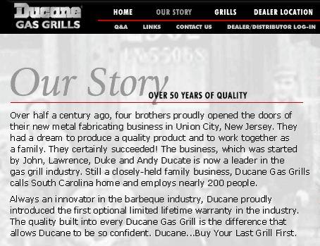 Screenshot from Ducane.com Feb 4, 2001