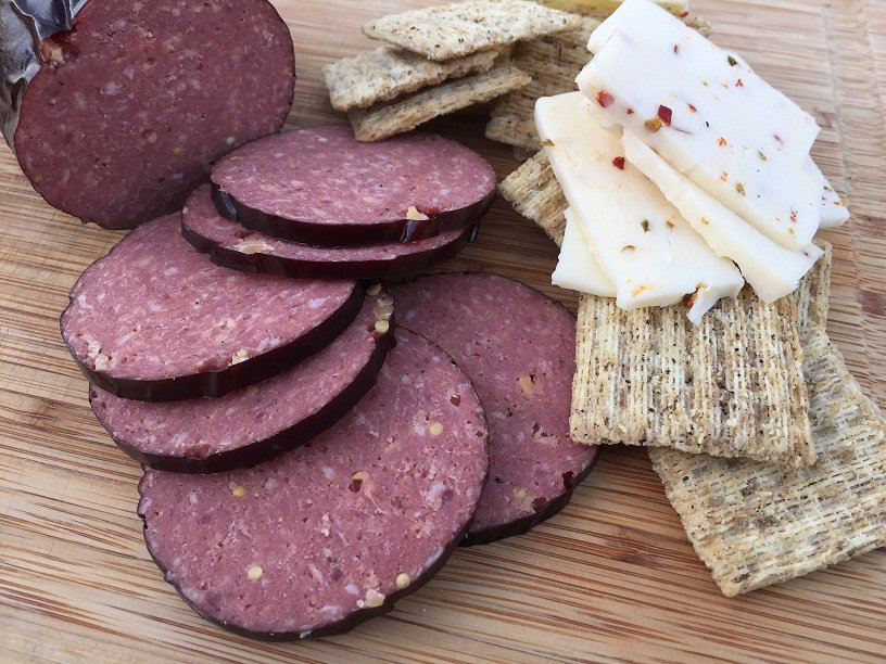 Summer Sausage with Crackers and Cheese