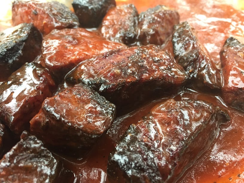 Burnt ends in sauce